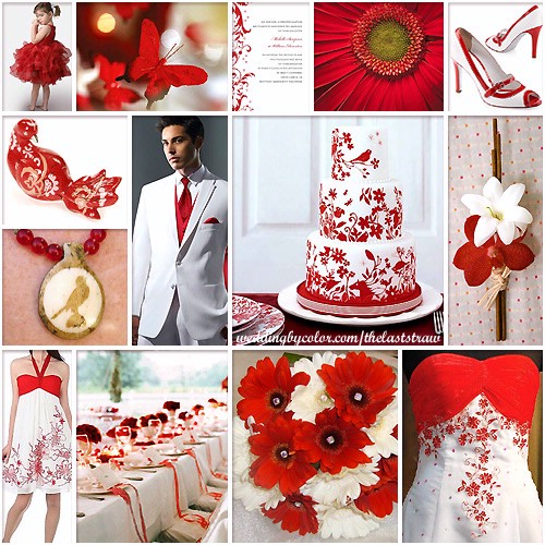 Red and white wedding color scheme inspiration board for Wedding color scheme ideas